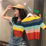 TP907025 RAINBOW KNIT CROP TOP