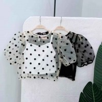 TP911007 PUFFY POLKA MESH TOP
