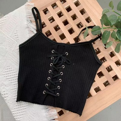 TP911033 LACE UP KNIT CROP SINGLET