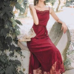 DR911037 WENWEN RED LACE DRESS