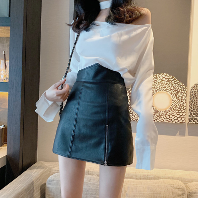 BT911063 PU LEATHER A LINE SKIRT