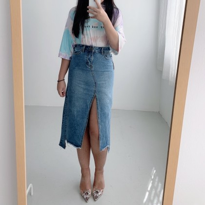 BT911068 MIDDLE SPLIT MIDI JEANS SKIRT