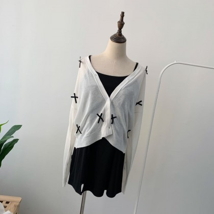 RIBBON KNITTED CARDIGAN TP008004