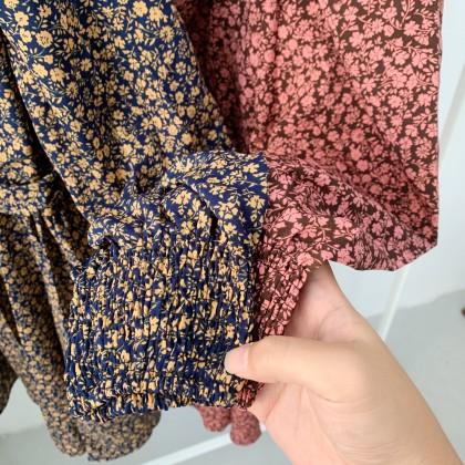 KOREAN VINTAGE FLORA V DRESS DR009005