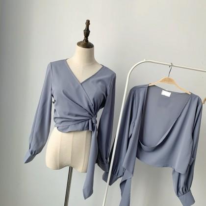 质感雾蓝雪纺V领衬衫 TP103004