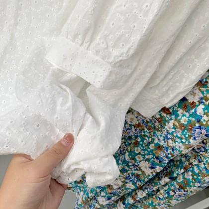 #小个子微胖 碎花连体裤泡泡袖两件套 JUMPSUIT JS106005